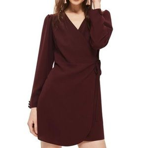 Topshop Crepe Mini Wrap Dress Burgandy/Purple